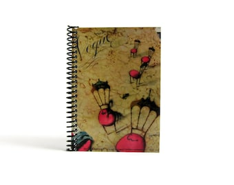Pink Chairs Writing Journal, Back to School, Pocket Blank Sketchbook Spiral Bound, 4x6 Inches Notebook, Diary Travel, Gifts Under 20, Ciaffi