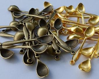 Mini Spoon Pendants - Choose from GOLD or Bronze Colors - Wholesale Mini Salt Spoon Necklace Pendant