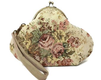 Victorian Style Clutch / Wristlet, Rose Cluster Tapestry, Antique Brass Purse frame, Olive Lining