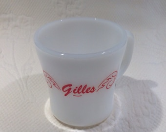 "Cup Federal Glass milkglass with name ""George"" / / custom"