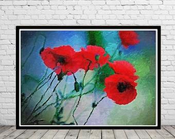 Poppy, red poppy, poppy art, poppy oil painting print, red poppy print, poppy art print, oil painting print, poppies, poppies art