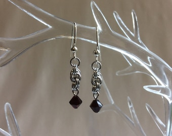 Double Spiral Chain Mail Earrings with Garnet Swarovski Crystal