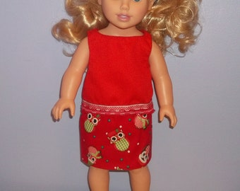 American 18 Inch Doll Clothes Top and Skirt red with Owls