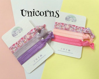 Unicorn Hair ties,hairbands, fold over elastic,pk of 3,party bag fillers,favours, pink,lilac, purple,yoga bands,wristbands, uk seller