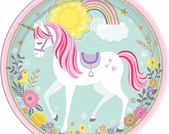 Magical Unicorn Round Edible Cake Image Topper Frosting Icing Sheet