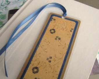 Gold and Blue Floral Laminated Bookmark