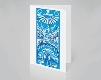 Clapham Card   South London card   Clapham illustration   Housewarming card   New home card   London gift   SW11 card   London art