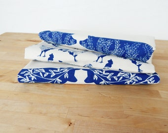 Tea Towel, Hand Printed, Blue Farm Prints, 3 Natural Cotton Towels