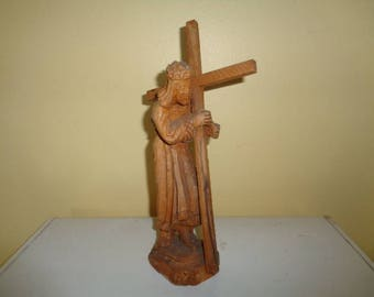 Very Old wood carved Jesus Cross Cruifix Free Shipping in the Continental USA