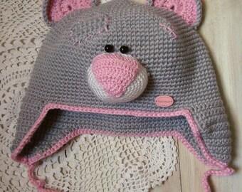 Crochet hat Crochet bear Animal hat Baby girl hat Teddy bear Kids hats Winter hat Baby hat Bear hat Baby bear hat Baby shower gift Girl hat