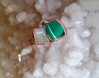 Crystal Maven Series. Moonstone and Malachite Copper Electroformed Statement Ring. Healing Metal Jewelry.