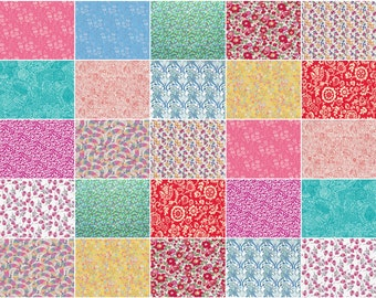 """Bright and Breezy, Liberty print charm pack, light bright colours charm squares, 5"""" patchwork squares"""