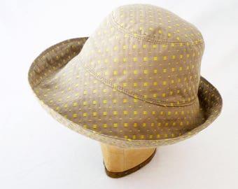 Beach Hat, Summer Hat, Ticking, Wide Brim, Womens Sunhat, Travel Hat, Greige, Packable Hat, Yellow Cotton, Cotton Sunhat, Cloche Sunhat