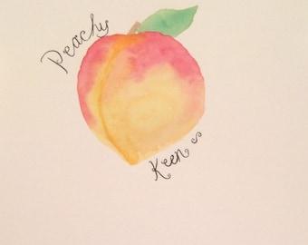 Peachy Keen Watercolor/Caligraphy