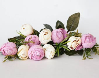 10 Small Mini Vintage Inspired Ranunculus Buds in Pink and Cream plus foliage - silk artificial flower, millinery flower - ITEM 01108