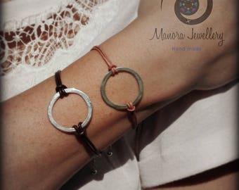 Best Seller, leather silver bracelet, fine silver circle bracelet, friendship bracelet, silver boho bracelet, boho silver bracelet