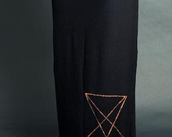 Lucifer Sigil Long Black Maxi Skirt