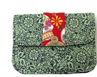 Clutch Purse Red Glitter Skulls on Green Floral Padded Tablet Cover