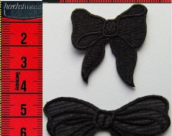 2 bow ties black embroidered patch iron or sew 5.5x3.5 cm/3.2x3.7cm Applique Patch
