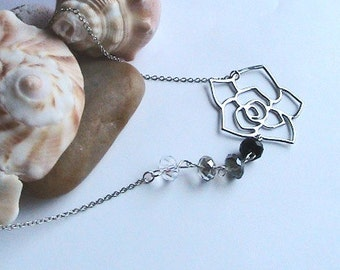 Silver Rose Necklace, Flower Necklace, Bridesmaids, Bridal Jewelry, Wedding, Jewelry Set, Choice of Color