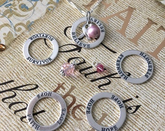 Strength- Survivor - Hope - Believe - Custom Breast Cancer Awareness Inspirational Necklace - Sterling Silver