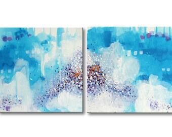 Abstract Painting on Canvas Modern art Abstract wall art Contemporary acrylic painting Canvas Art Abstract Blue Painting Canvas art