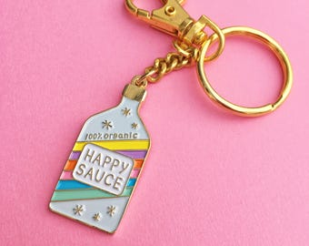 Happy Sauce keychain, happy sauce key ring, cute bag charm rainbow enamel keychain, ring and hook keychain, awesome sauce, by HibouDesigns