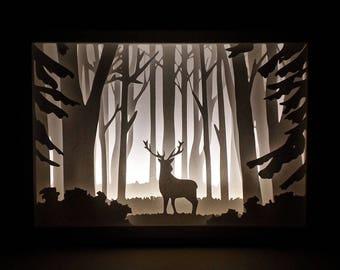 Paper Cut Silhouette Shadow Box - Deer in the Woods