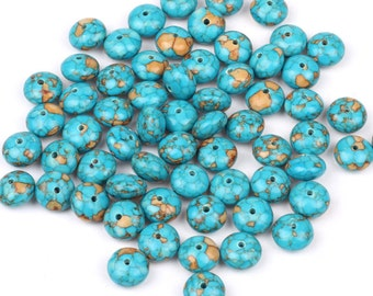 20pcs  10mmX7mm, Blue Sediment Jasper gemstone rondelle beads