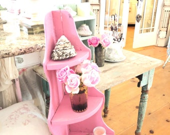 pink chippy wood corner shelf  shabby chic cottage prairie