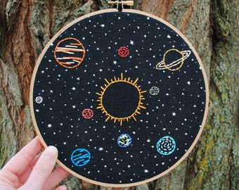 """Solar System Embroidery Art - 8"""" hoop, Sun and planets in orbit, stars, hand stitched space wall art"""