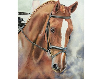 Custom Horse Painting, Dressage Horse Portrait, Hanoverian Horse Watercolor, Equine Art, Custom Horse Art, Watercolor Horse, Equine Portrait