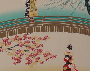 Japanese Art Tenugui 'Maiko-san and the Seasons' Cotton Japanese Geisha Fabric w/Free Insured Shipping