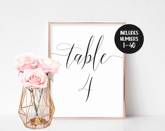 Wedding Table Numbers Printable, Table Numbers Wedding, Instant Download, Table Number Cards, Printable Table Numbers, Template, Vintage DIY