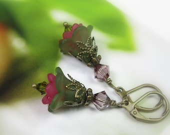 Olivine Flower Earrings, Lucite and Swarovski Flower Earrings, Vintage Style Jewelry, Green Earrings, Green and Pink, Gifts for Gardeners