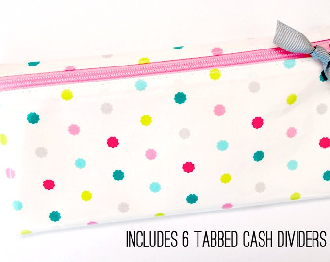 Scalloped dot slim coupon organizer or budget wallet