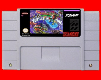 Turtles In Time SNES reproduction game, tmnt 4 repro, Ninja Turtles super nintendo game, clean tested and working perfectly, USA seller!