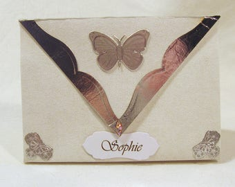 Small gift bag + magnetic clasp + label Butterfly silver/Cream handmade
