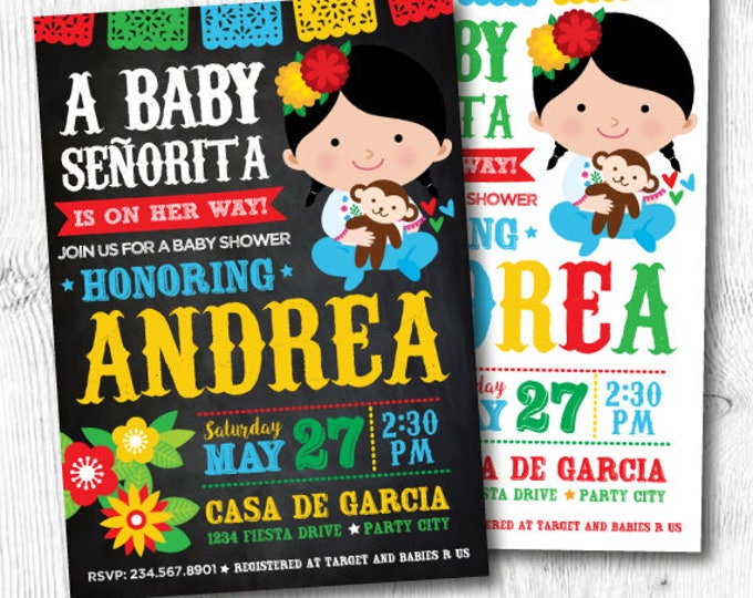 Fiesta Baby Shower Invitations, Mexican Baby Shower Invitations, Mexican Fiesta Party, Digital, 2 Options