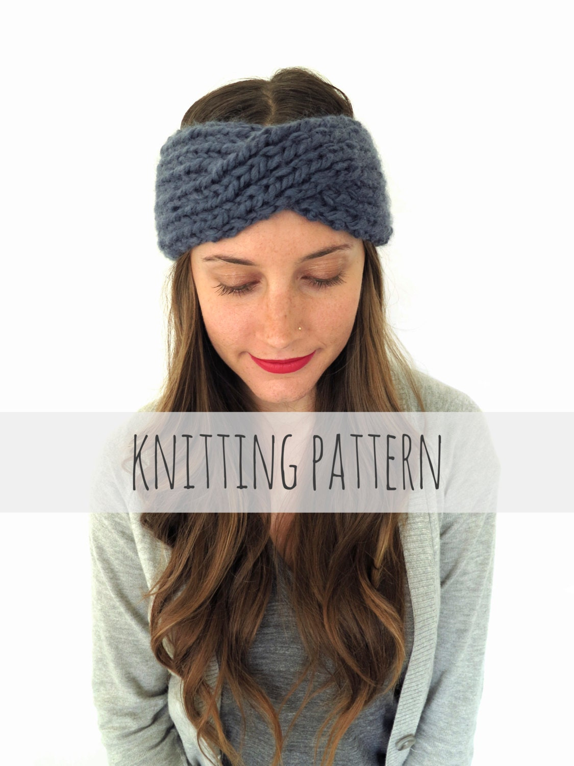 PATTERN for Chunky Soft Knit Turban Headband Ear Warmer //