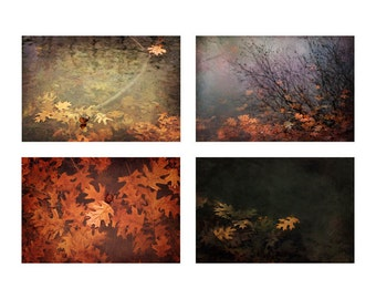 Autumn leaves set, set of 4, Rustic Living Room Decor, Seasonal themed art, Cabin decor