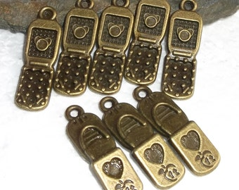14 Antiqued Brass Cell Phone Charms/Pendants
