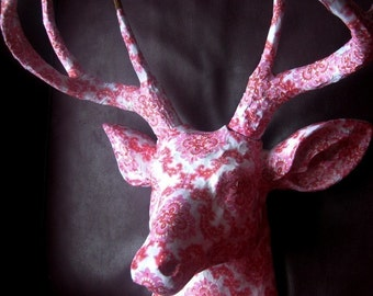 Pink Flocked Deer  |  Stag Head Paper Art Wallpaper Sculpture