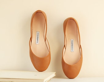 Cognac Brown Ballet Flats | Pointe Style Shoes | Classic Model | Standard Width | Cognac Brown | Ready to Ship