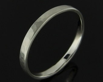 Hammered Flat Profile Sterling Silver Band Ring, Silver Wedding Band, Silver Wedding Ring, Sterling Silver Ring, Satin Finish, 2 mm, 3 mm