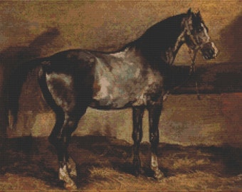 Horse Cross Stitch Kit, Gray Horse, Counted Cross Stitch, Embroidery Kit, Art Cross Stitch, Theodore Gericault