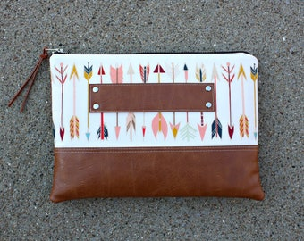 Arrow fabric tribal Clutch / Kindle Case