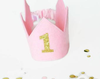 First Birthday Crown -  Pink birthday Crown -First birthday outfit girl - Cake smash outfit girl - Birthday girl crown - 1st Birthday Crown