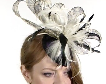 Black and Ivory Fascinator, Wedding Fascinator, Aintree Fascinator, Race Day Hat, Wedding Hat, Mother of the Bride Hat, Royal Ascot Hat