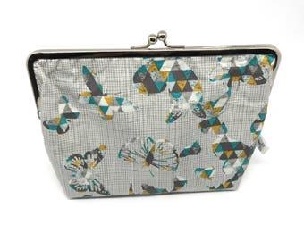 Metal frame kiss lock purse Butterflies